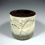 Emadaragaratsu water jar with burned cedar lid. H20cm