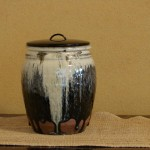 Chosen Karatsu Hoso Mizusashi (water jar) w/ lacquer lid. This guy sold.