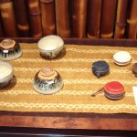 Chosen Karatsu rice bowls and leather change purses