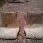 70 ash / 40 feldspar.  L tile using mixed wood ash, R tile using mystery ash
