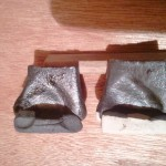 (left)The rice hulls turned the body black and gave the glaze surface more shine.