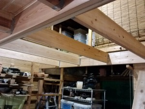 beam added, and joists in place.