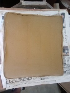 36cm square slab, same size as the others above. This one will be for food, so the edges are raised, and smoothed.